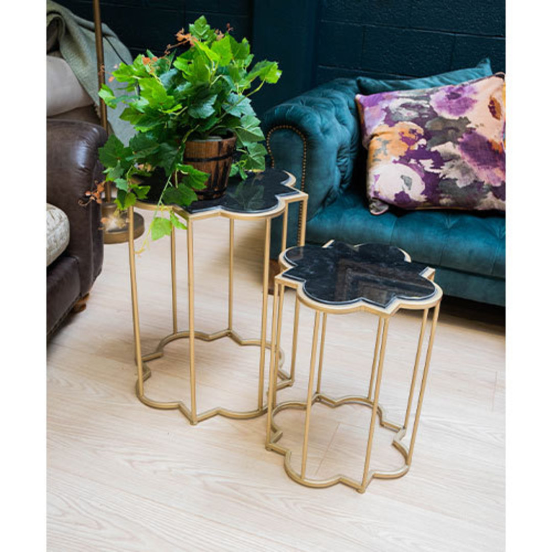 Gold & Black Marble Tables Set of 2 image 1