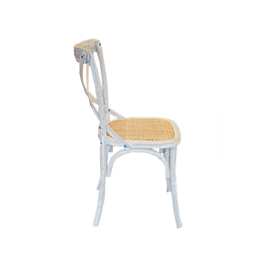 Marco Oak White Washed Wooden Cross Chair with Rattan Seat image 2