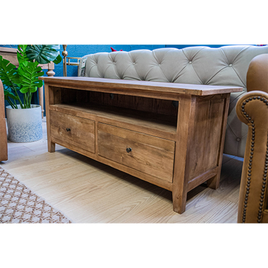 Reclaimed Elm TV Unit With 2 Drawer image 7