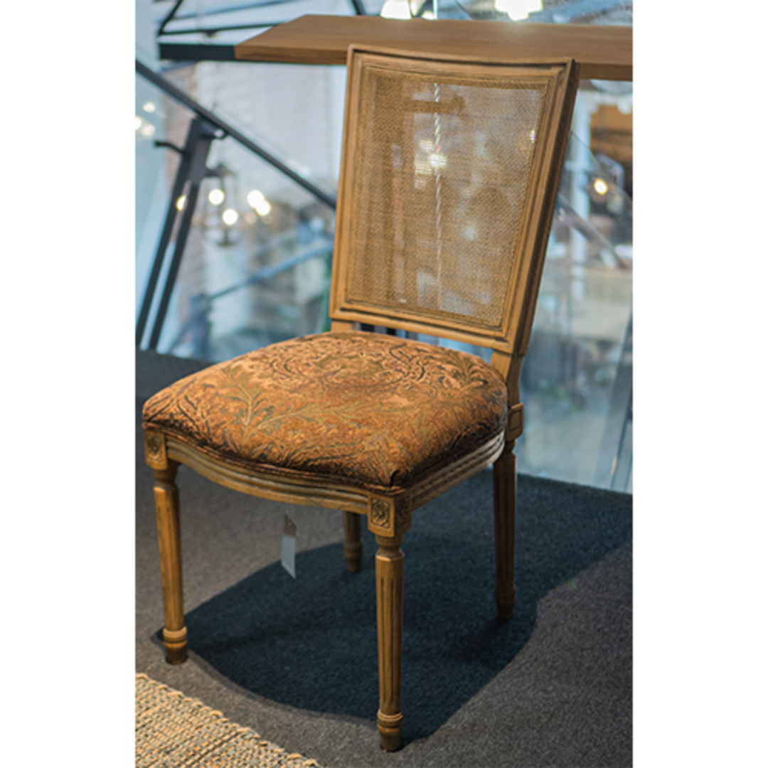 Marcel Dining Chair - Antique Oak With Jacquard Fabric & Rattan Back image 6