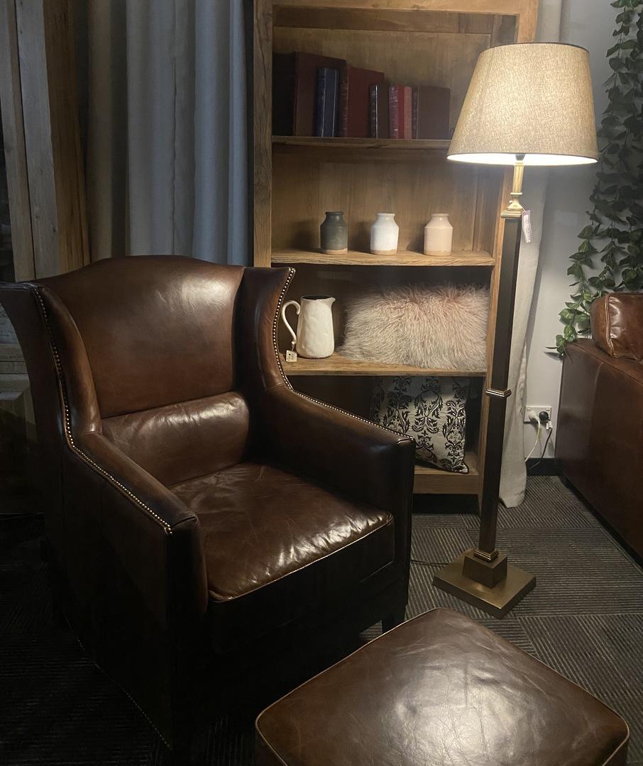 Buckingham Aged Italian Leather Wing Armchair image 1
