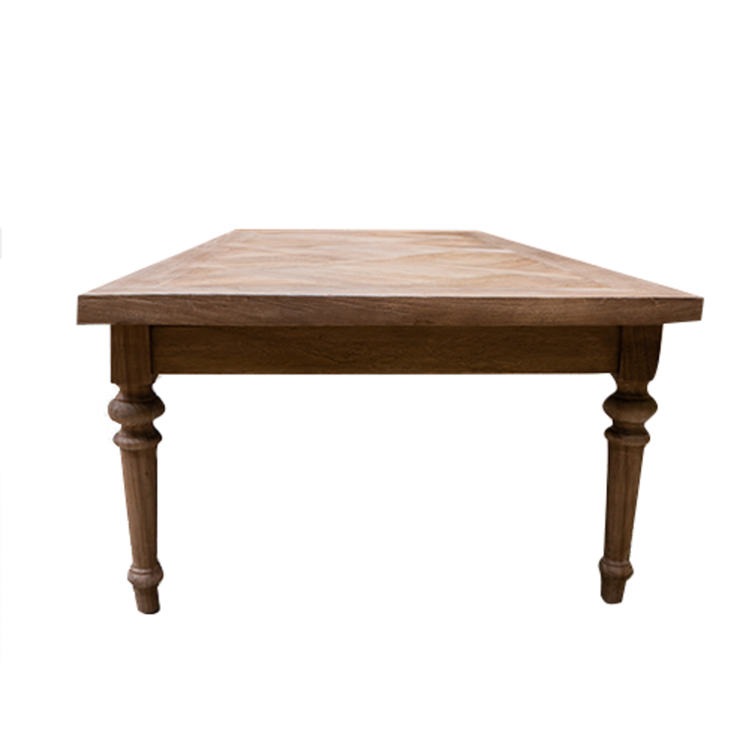 Recycled Elm Coffee Table with Parquet Top image 1