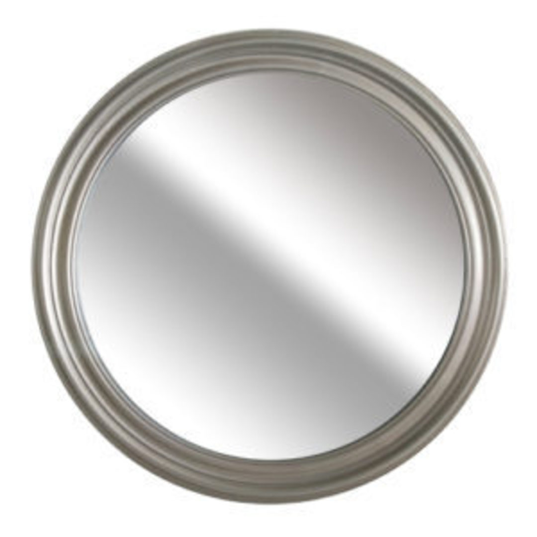 Grooved Round Beveled Mirror Silver image 0