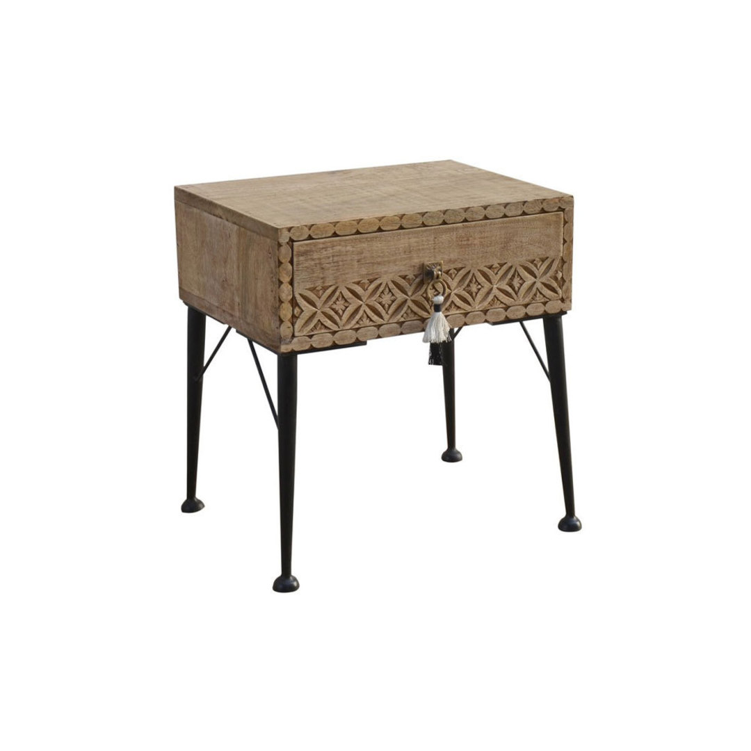Bohemian Timber Bedside Table image 0