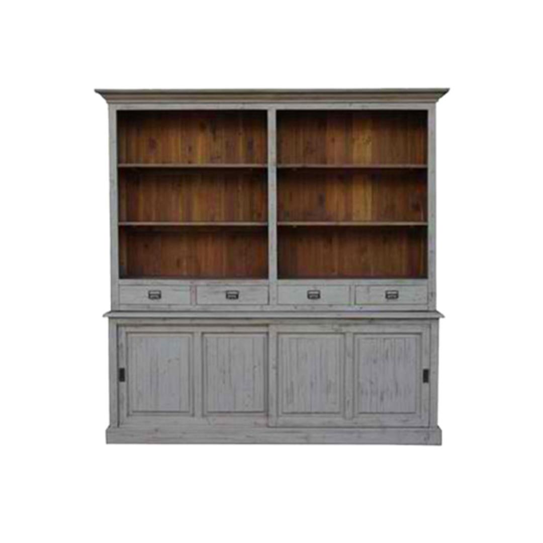 Old Pine 4 Drawer 2 Door Large Bookcase 215cm image 0