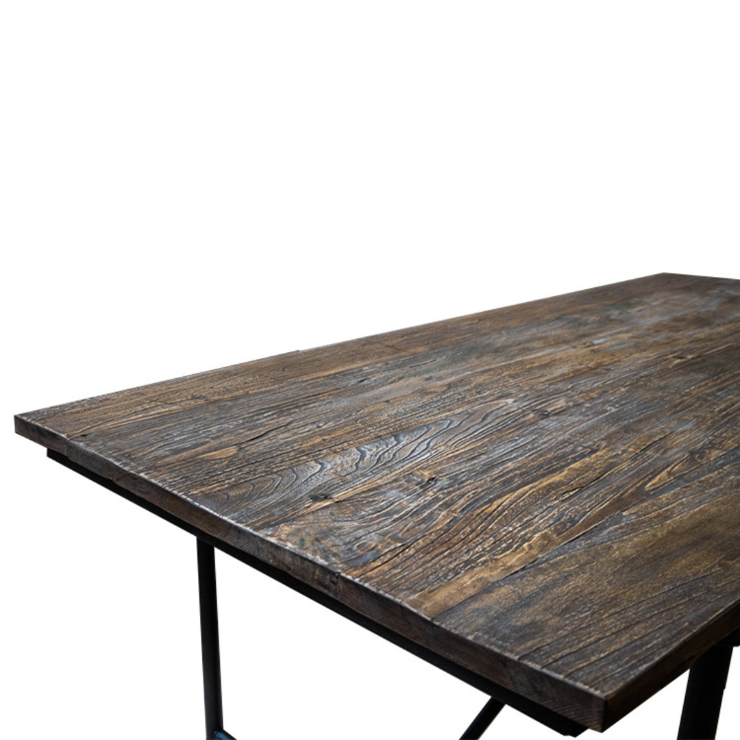 Industrial Dining Table Old Elm & Iron 1.8 Metres image 1