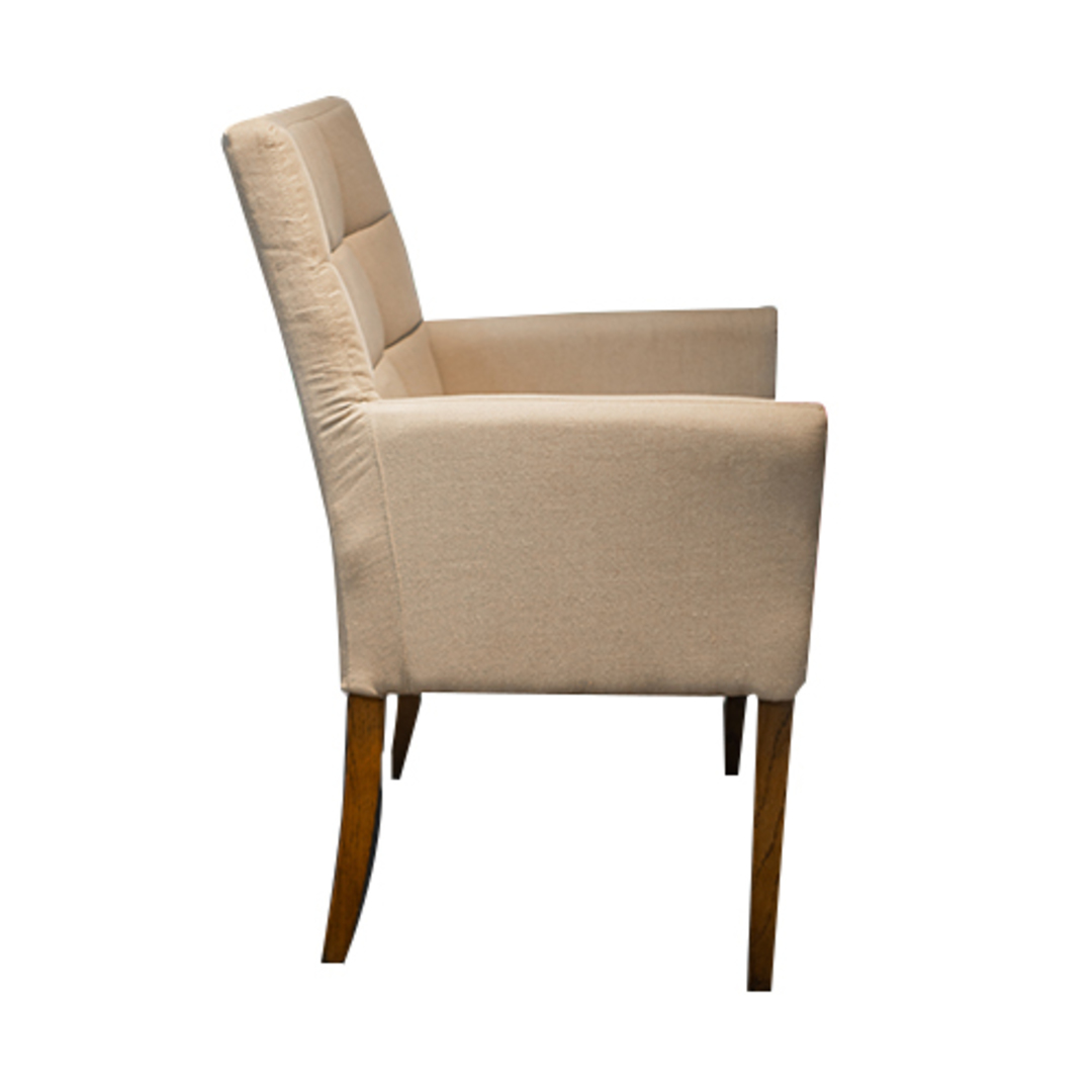 Linen Dining Chair With Arms Cream image 1