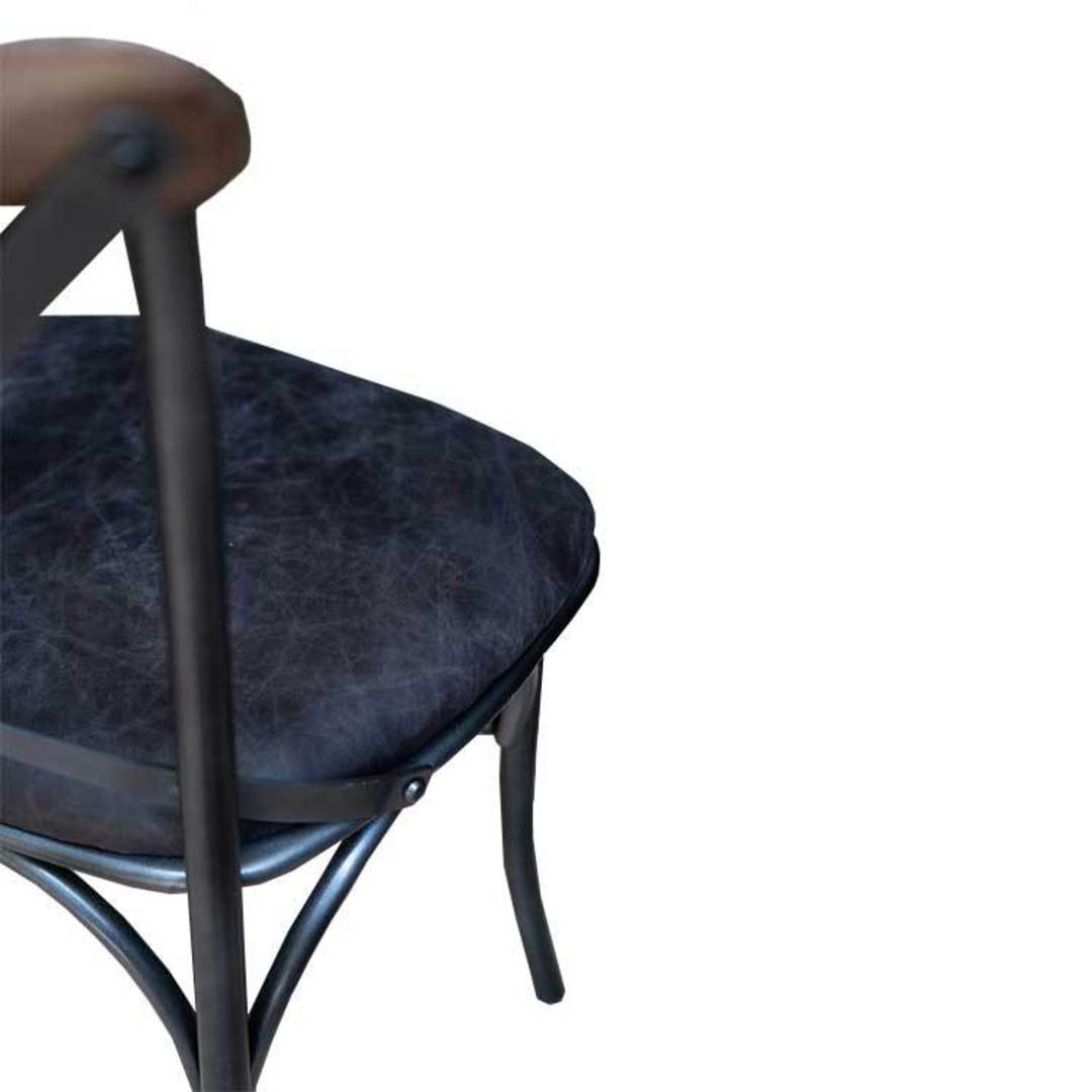 Cross Back Dining Chair With Black Leather Seat image 5