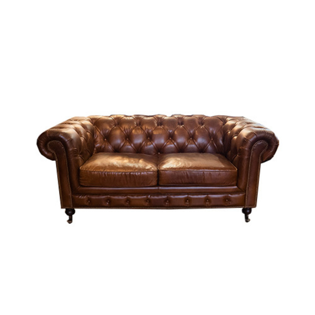 Chesterfield Aged Italian Leather 2 Seater Brown image 0