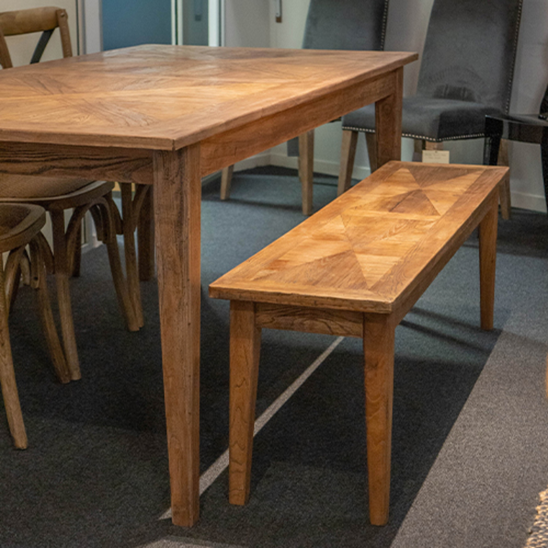 French Dining Table Recycled Elm Parquet Top 1.5 Metres image 5