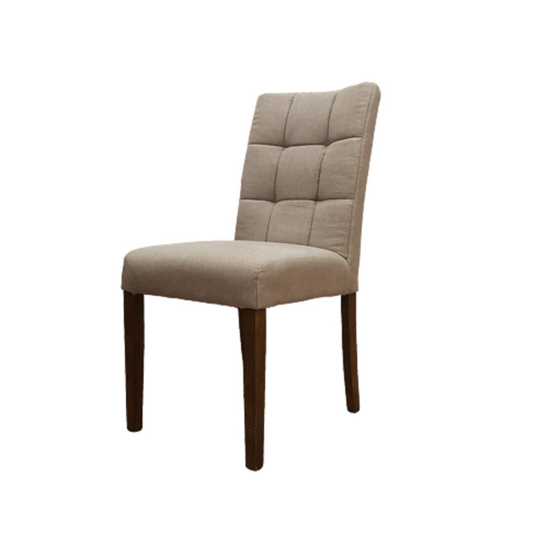 Square Linen Dining Chair Cream Color With Light Oak Legs image 0