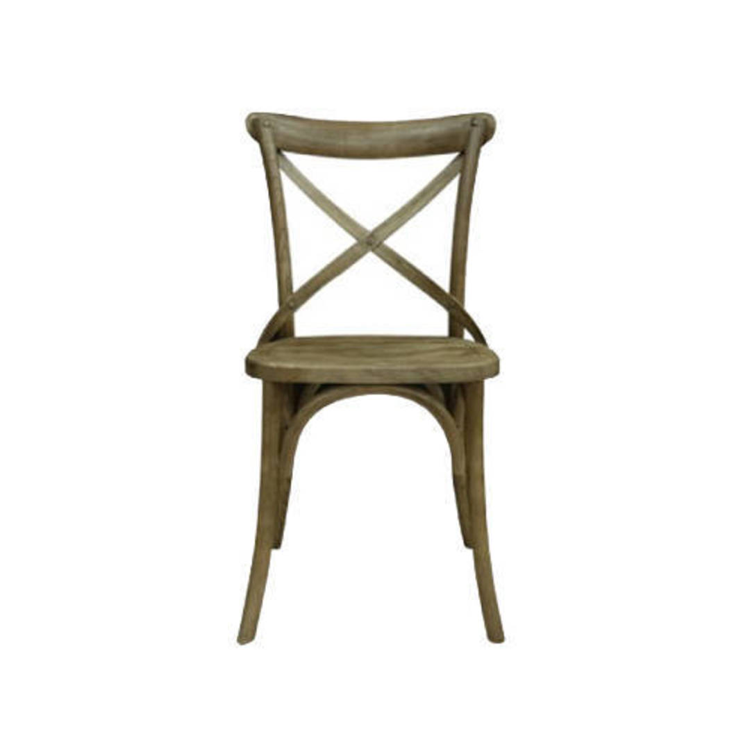 Athena Antique Elm Cross Chair with Wooden Seat image 0