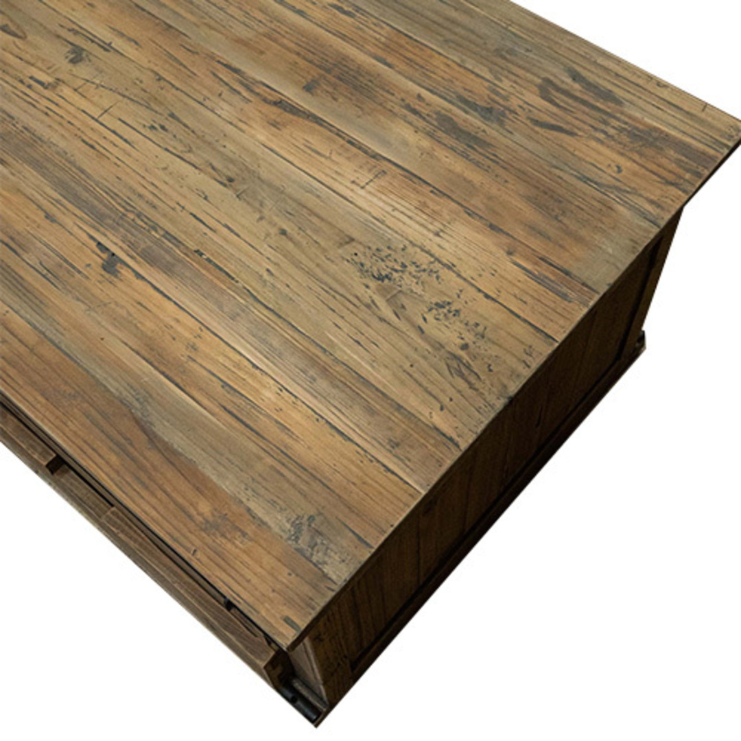Industrial Coffee Table With Sliding Door image 9