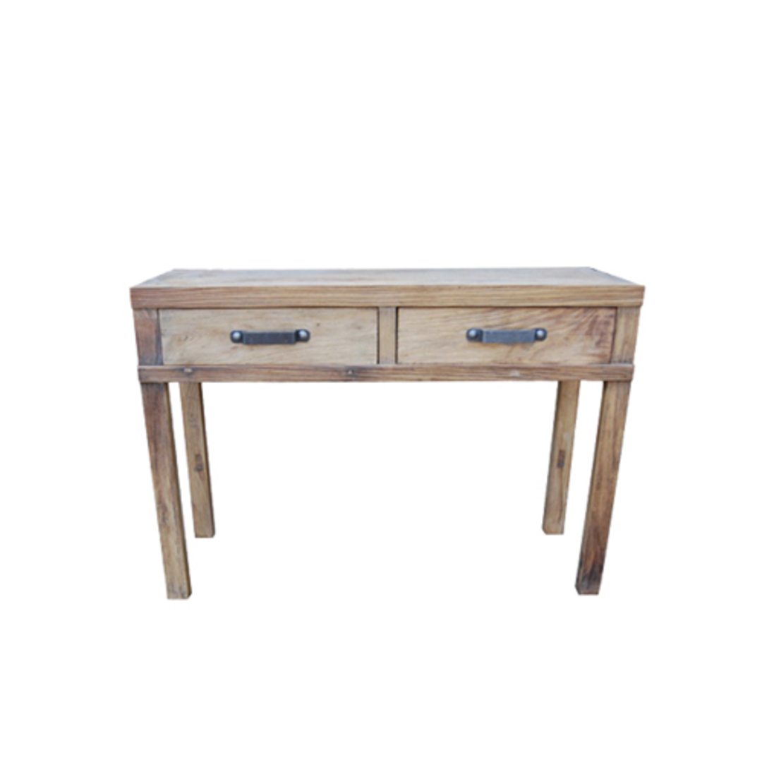 Recycled Elm Hall Table 2 Drawer image 0