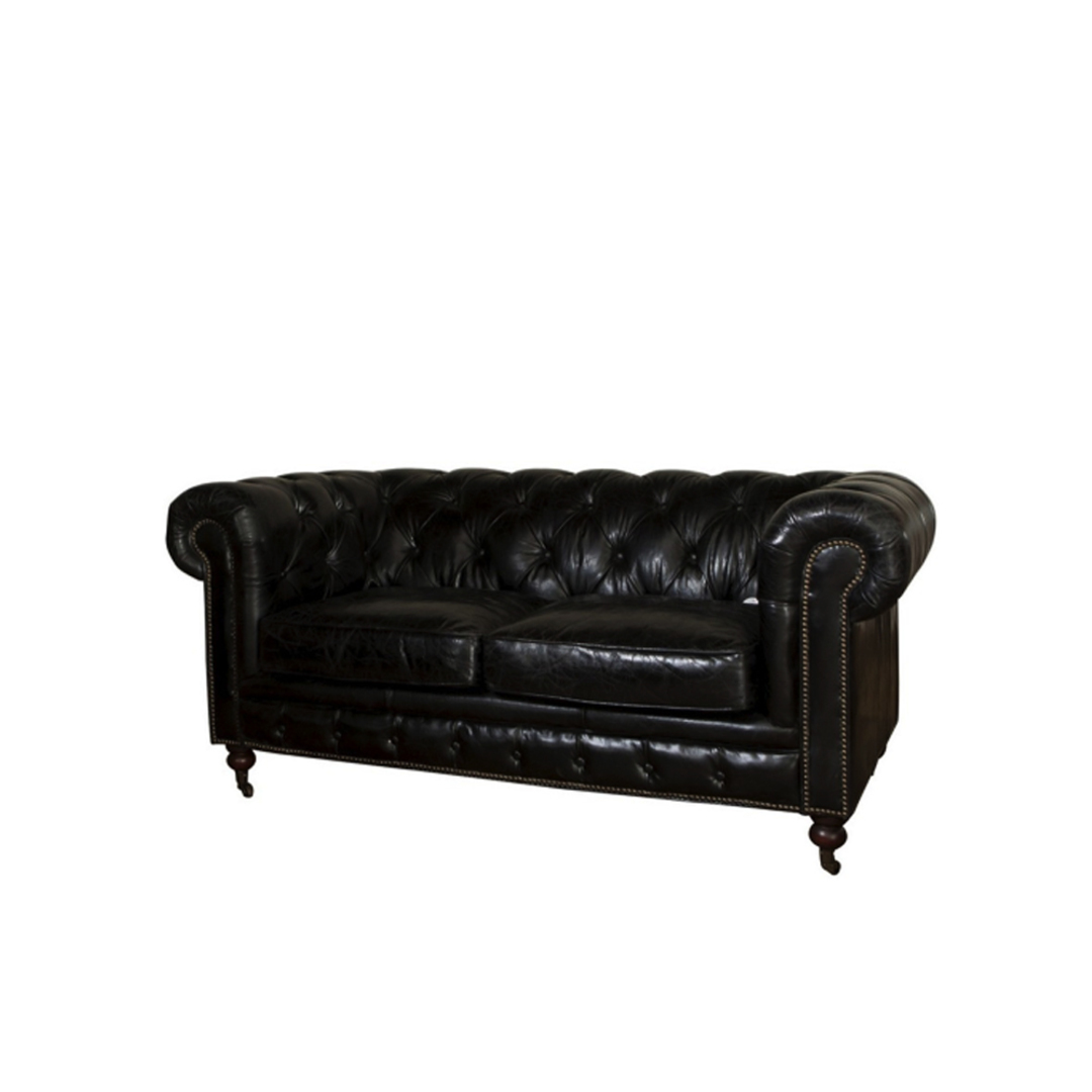Chesterfield Aged Italian Leather Black 2 Seater image 0