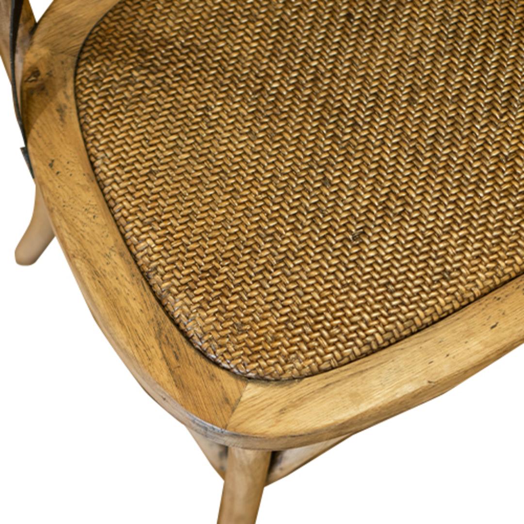 Oak Cross Back Chair Metal image 3