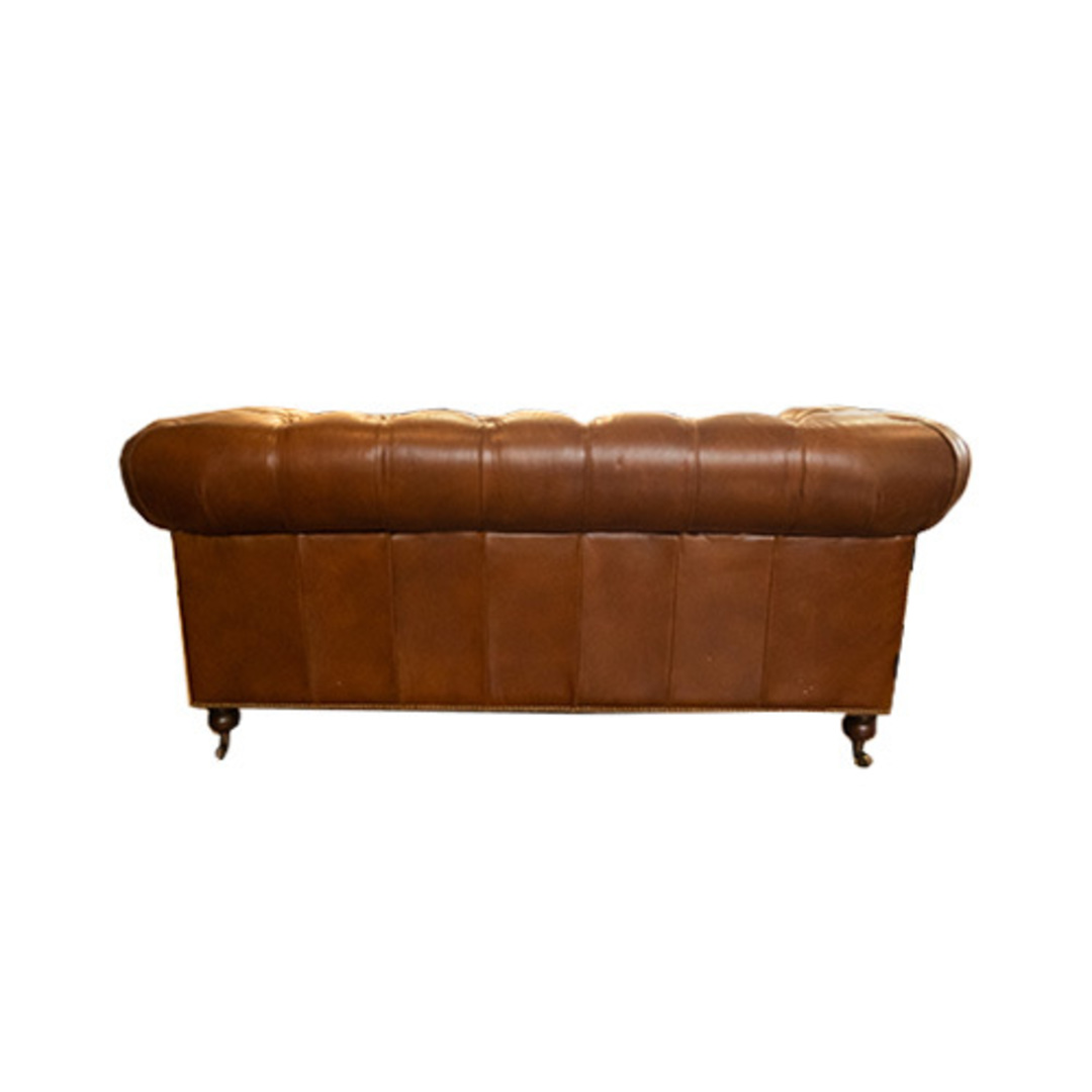 Chesterfield Aged Italian Leather 2 Seater Brown image 3