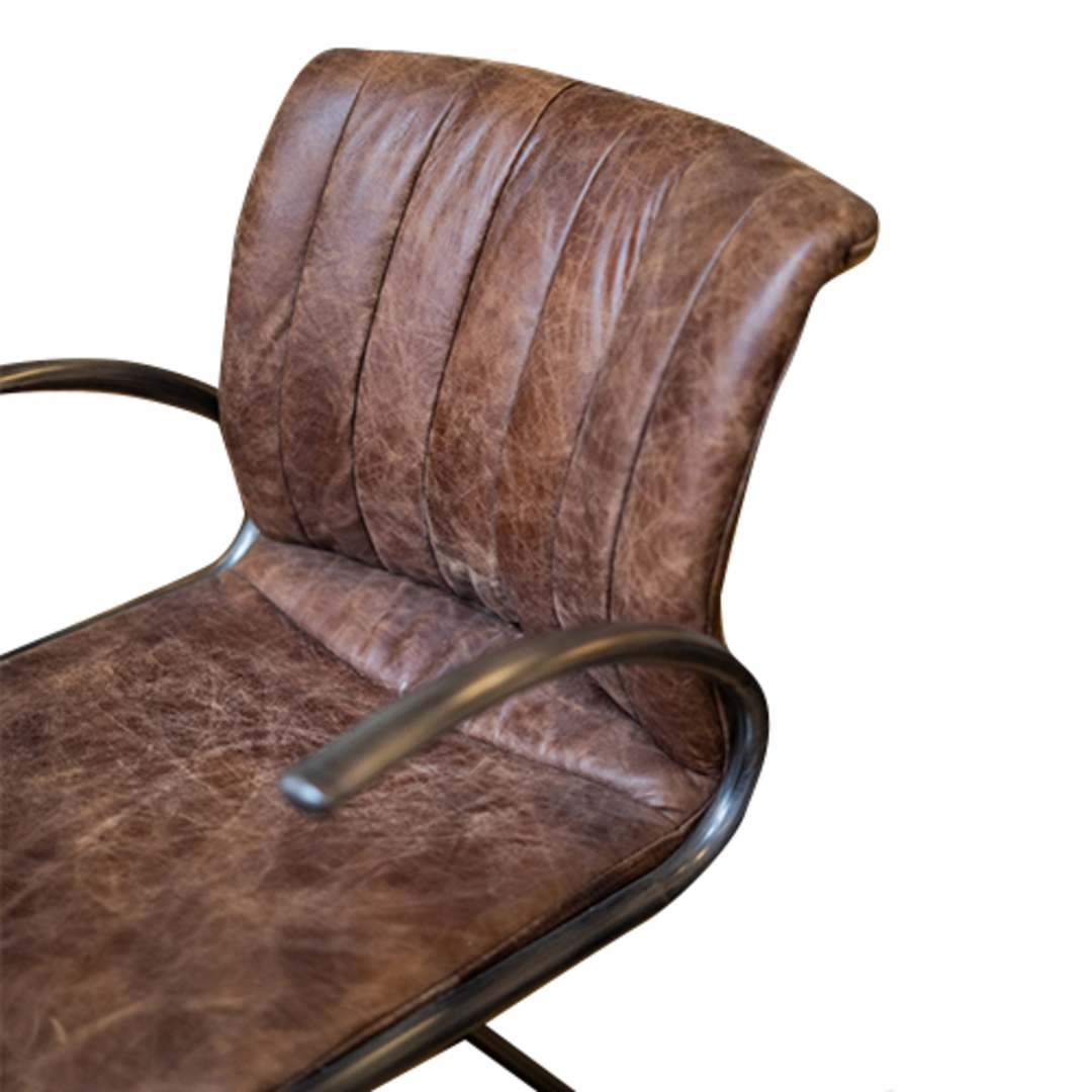 Matera Leather Arm Chair Metal Frame image 3