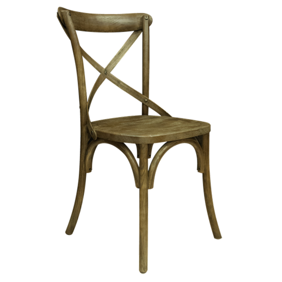 Athena Antique Elm Cross Chair with Wooden Seat image 1