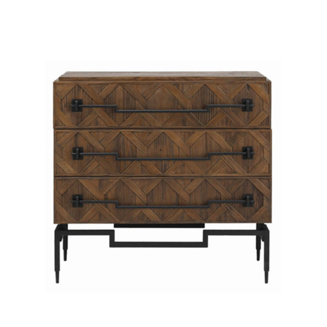 Reclaimed Fir 3 Drawer Chest with Iron image 1