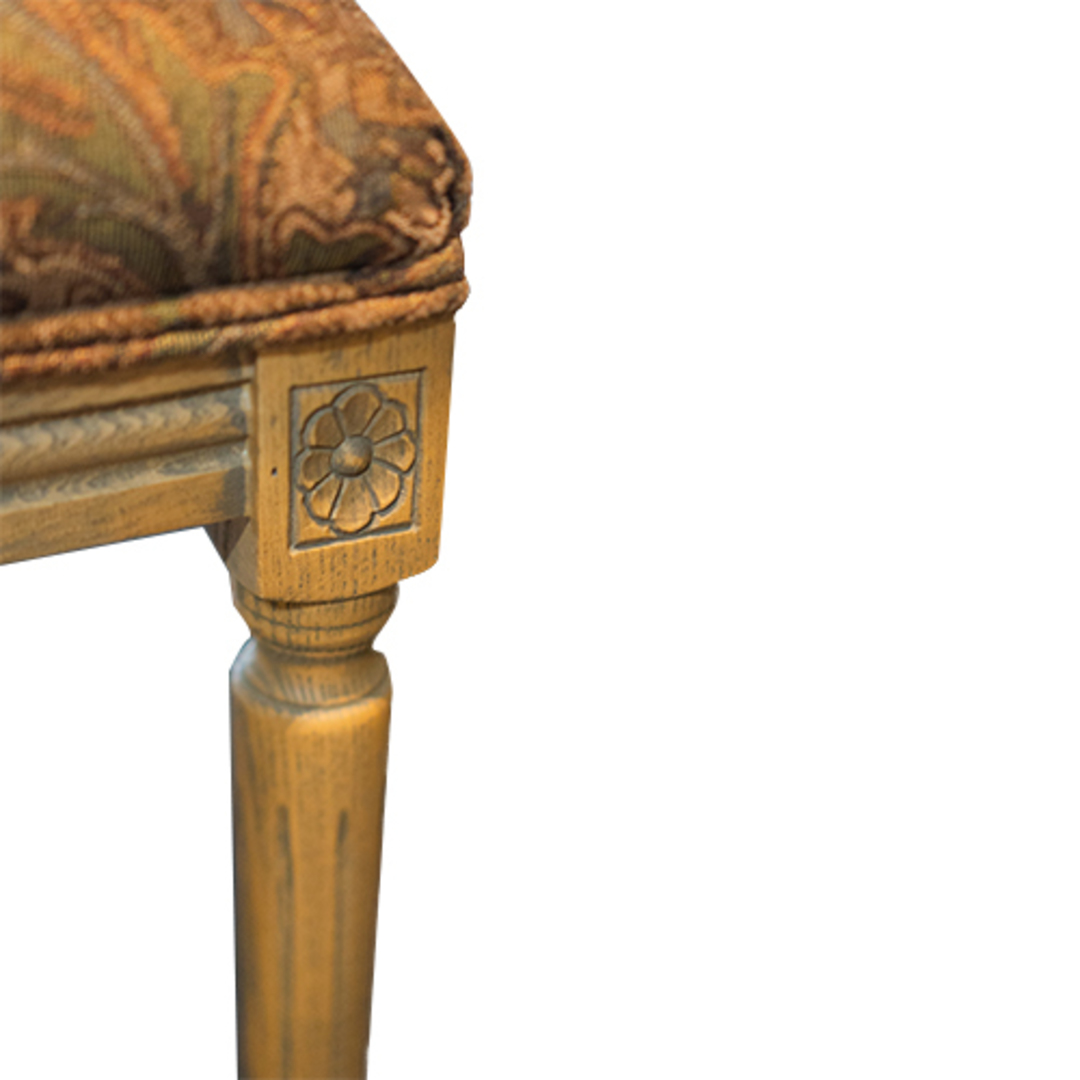 Marcel Dining Chair - Antique Oak With Jacquard Fabric & Rattan Back image 3