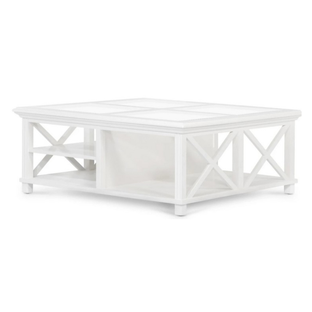 Coast Coffee Table White Wood and Glass image 0
