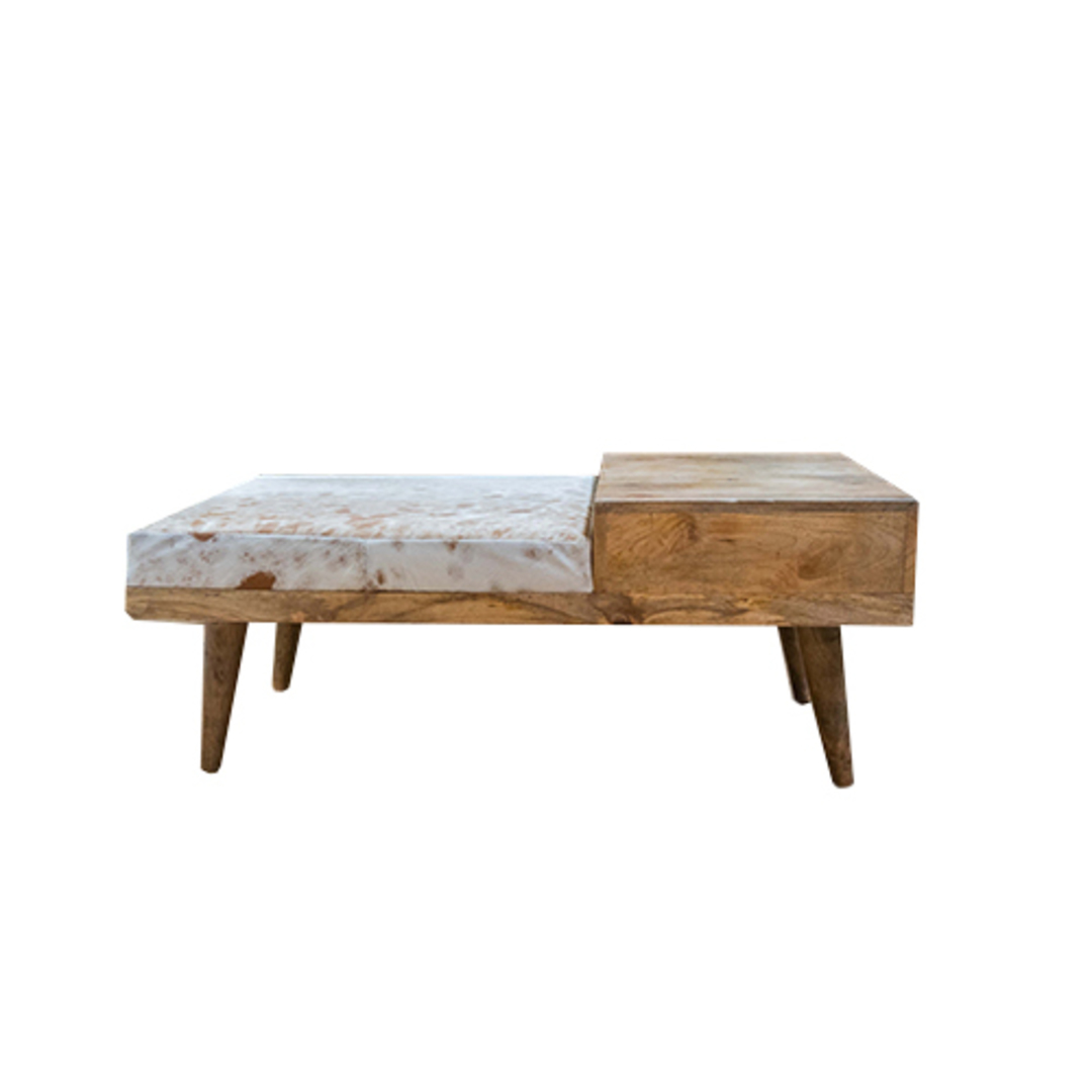 Mid Century Phone Bench With Cowhide image 5