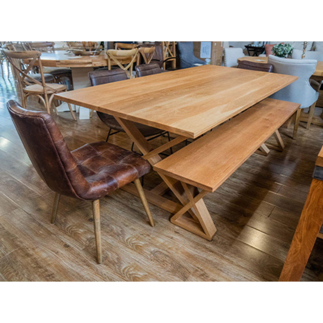 American Oak X-Leg Bench Seat NZ Made image 7