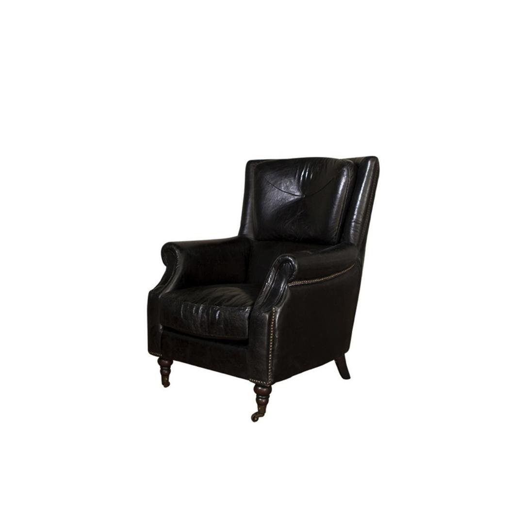 Windsor Aged Italian Leather Chair Black image 0