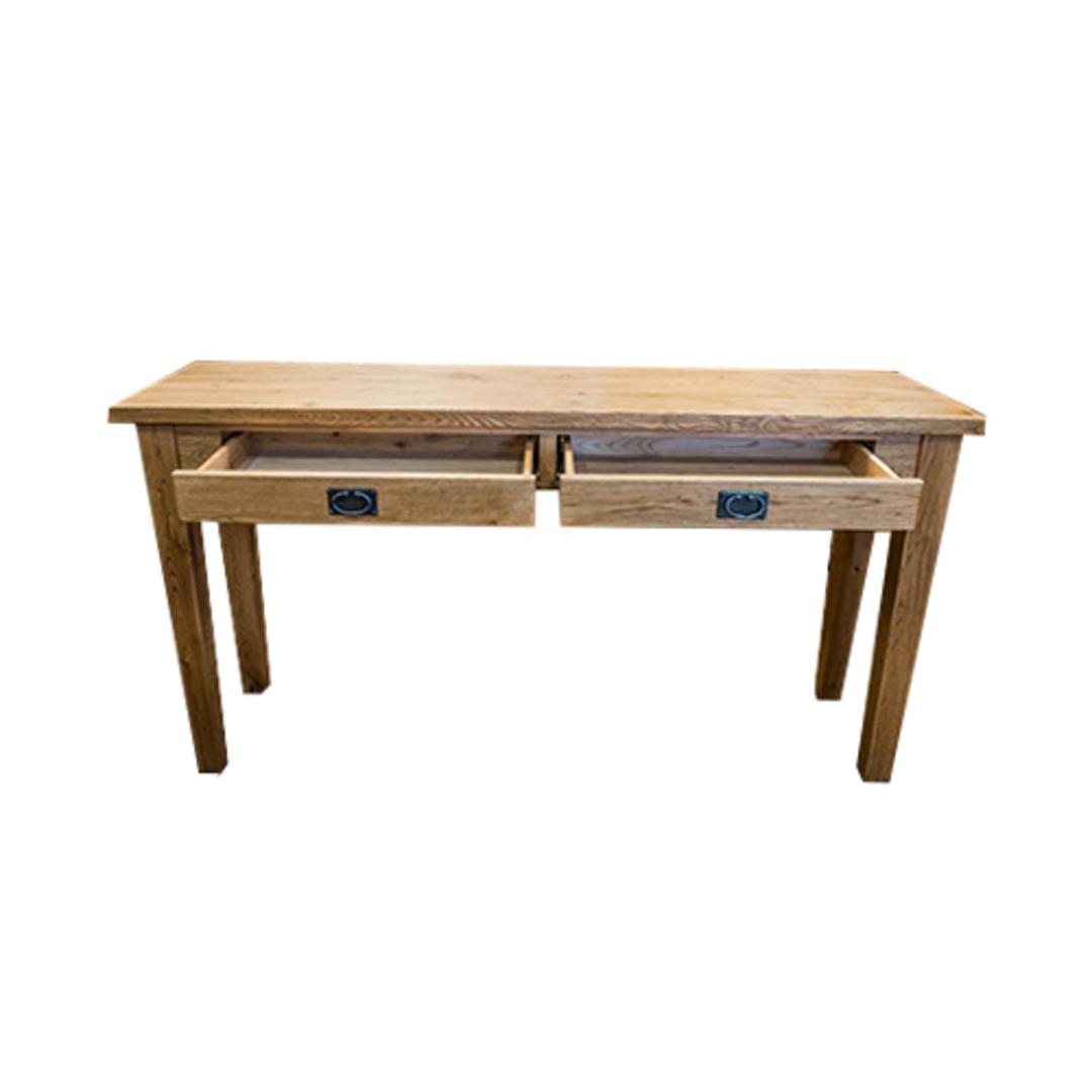 American Oak Hall Table 2 Drawer image 2
