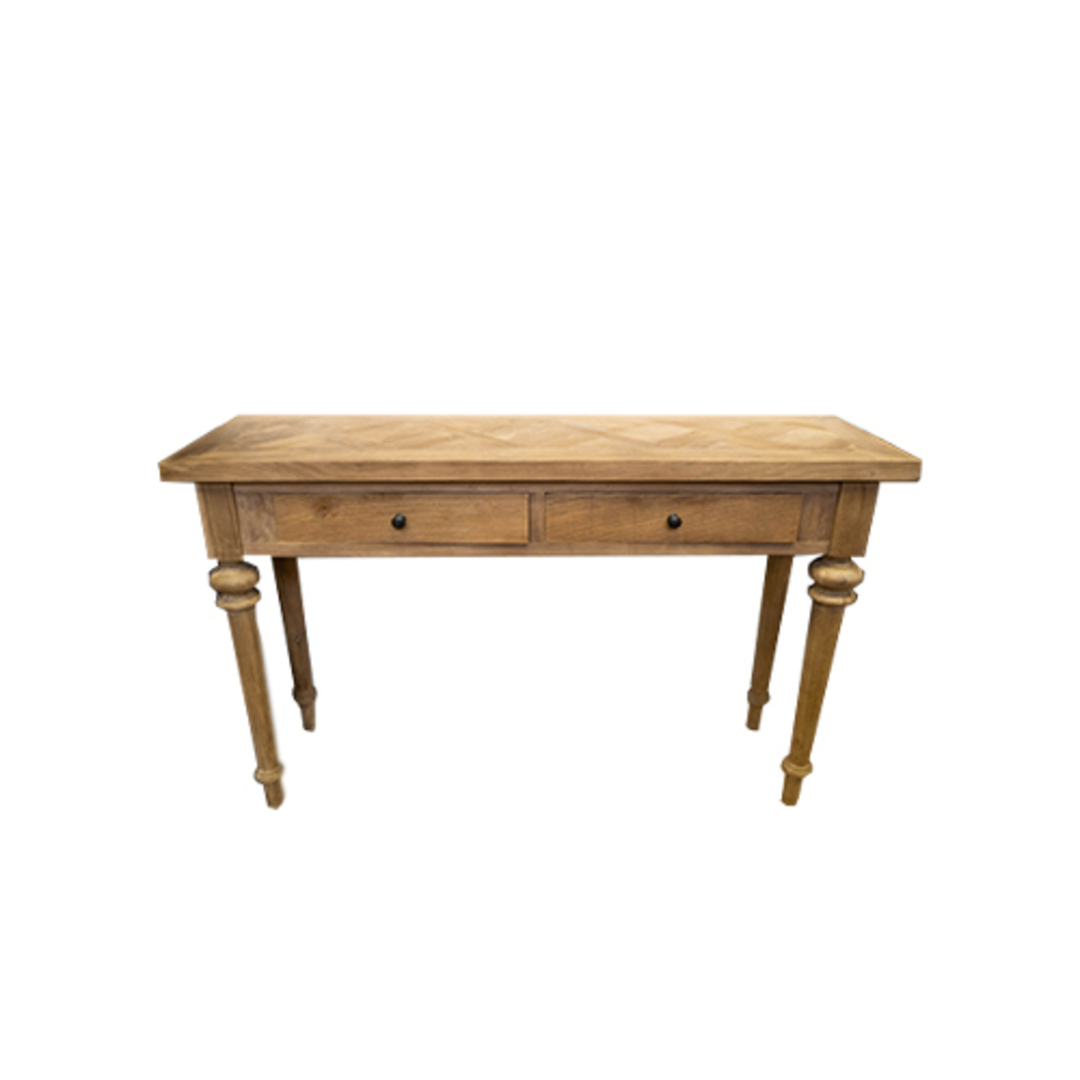 Recycled Elm Console 2 Drawer with Parquet Top image 0