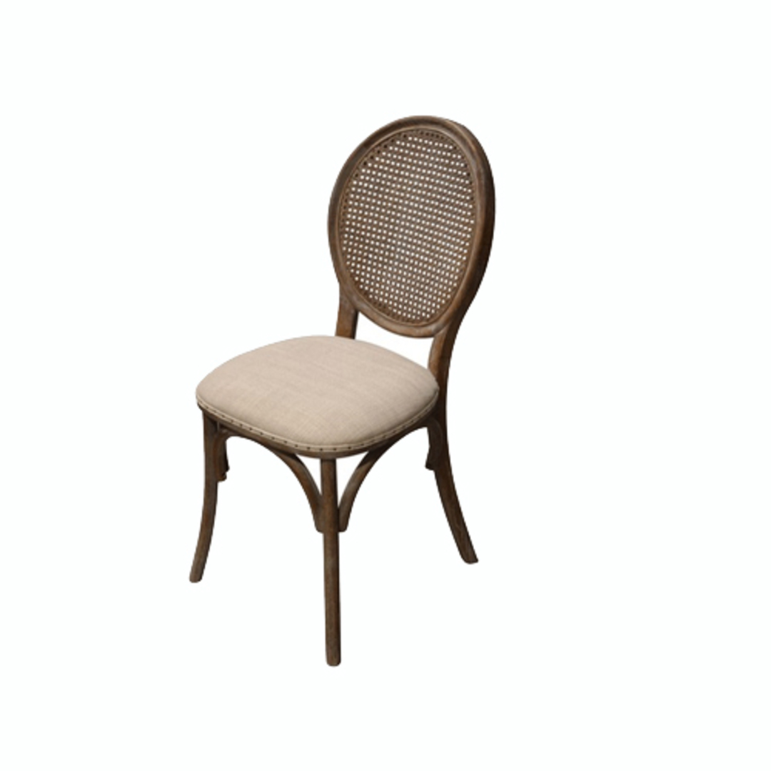 Heritage Dining Chair Burnt Oak with Natural Linen Seat image 0