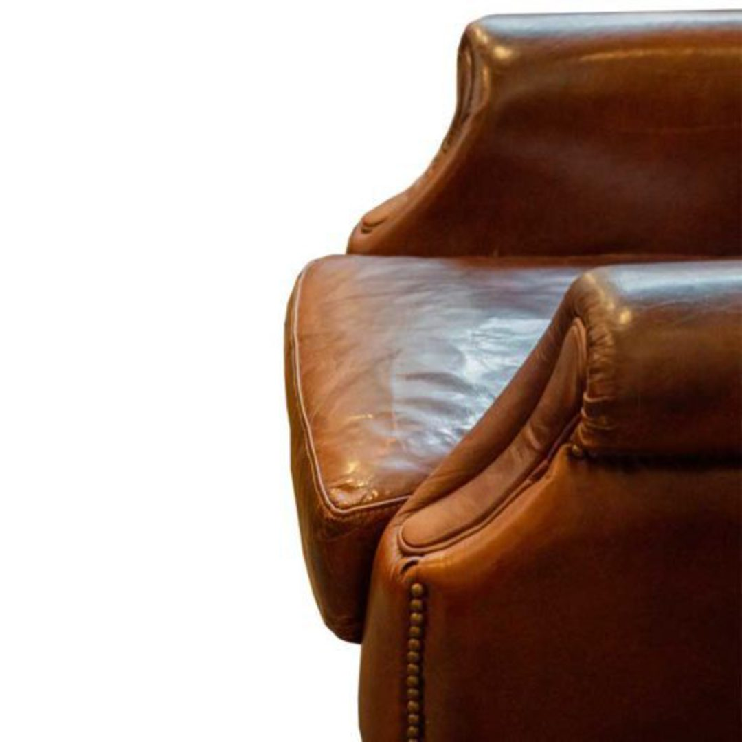 Windsor Aged Italian Leather Chair Brown image 5