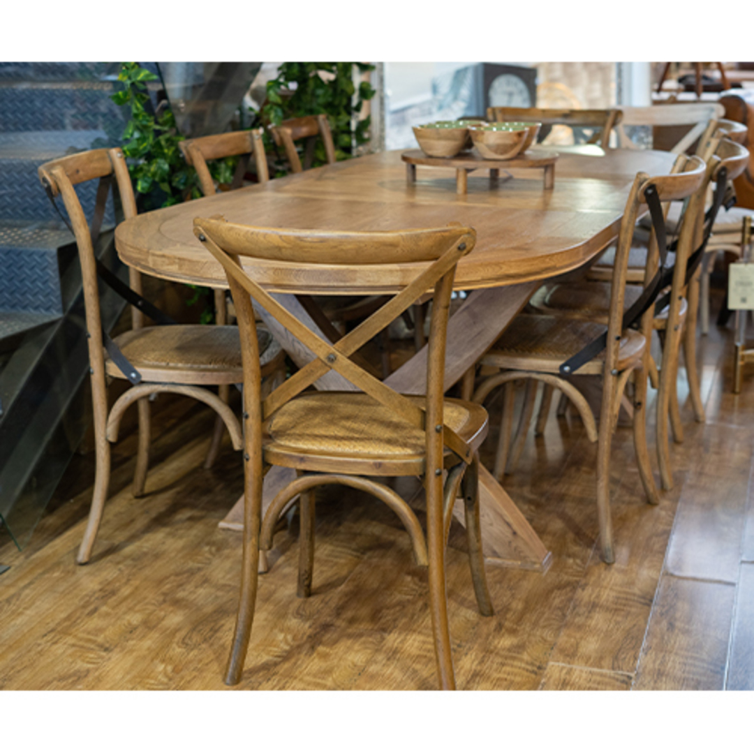 Oak Oval Extension Dining Table with Crossed legs image 6