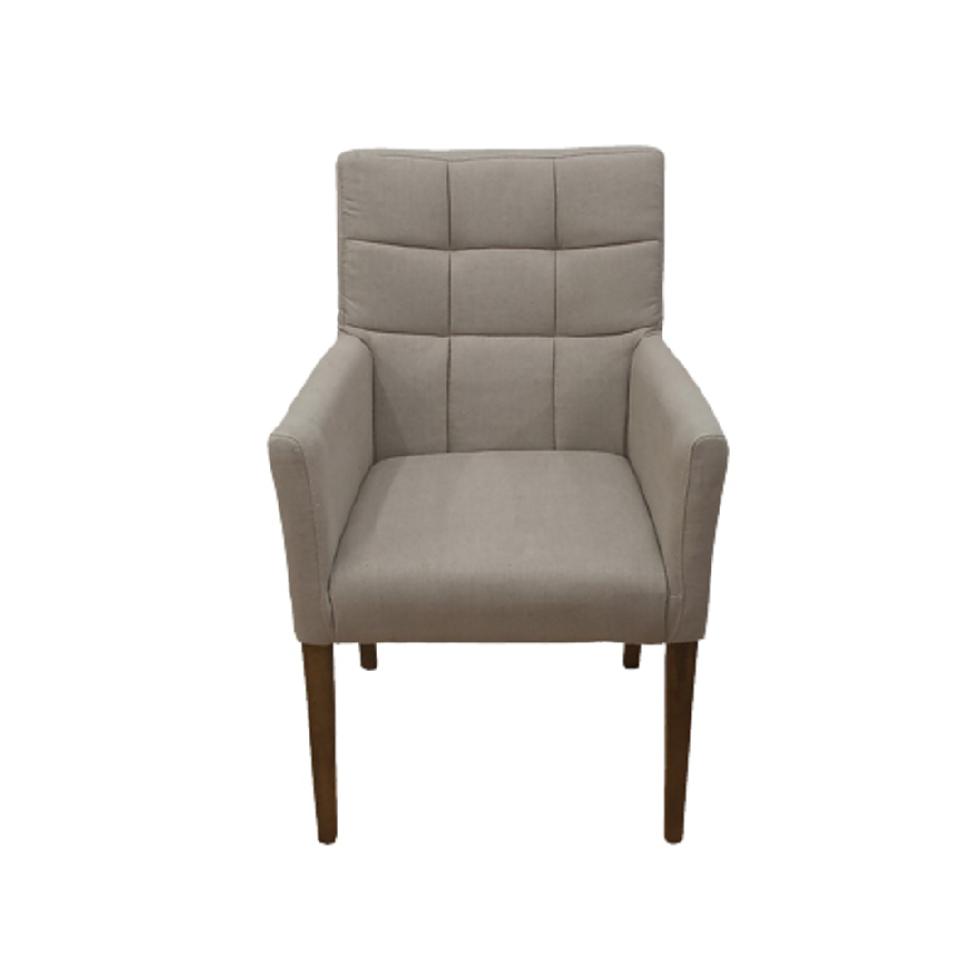 Linen Dining Chair With Arms Cream image 0