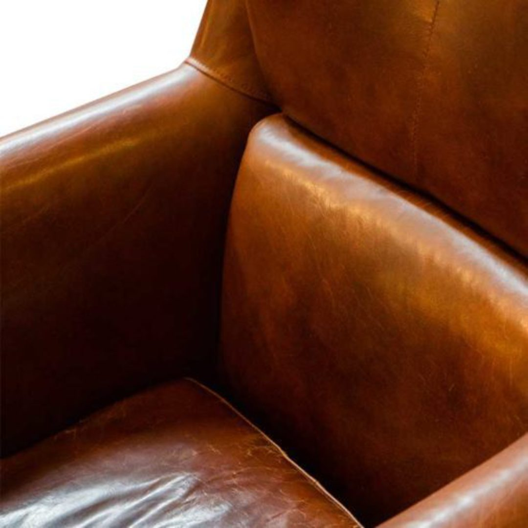 Windsor Aged Italian Leather Chair Brown image 4
