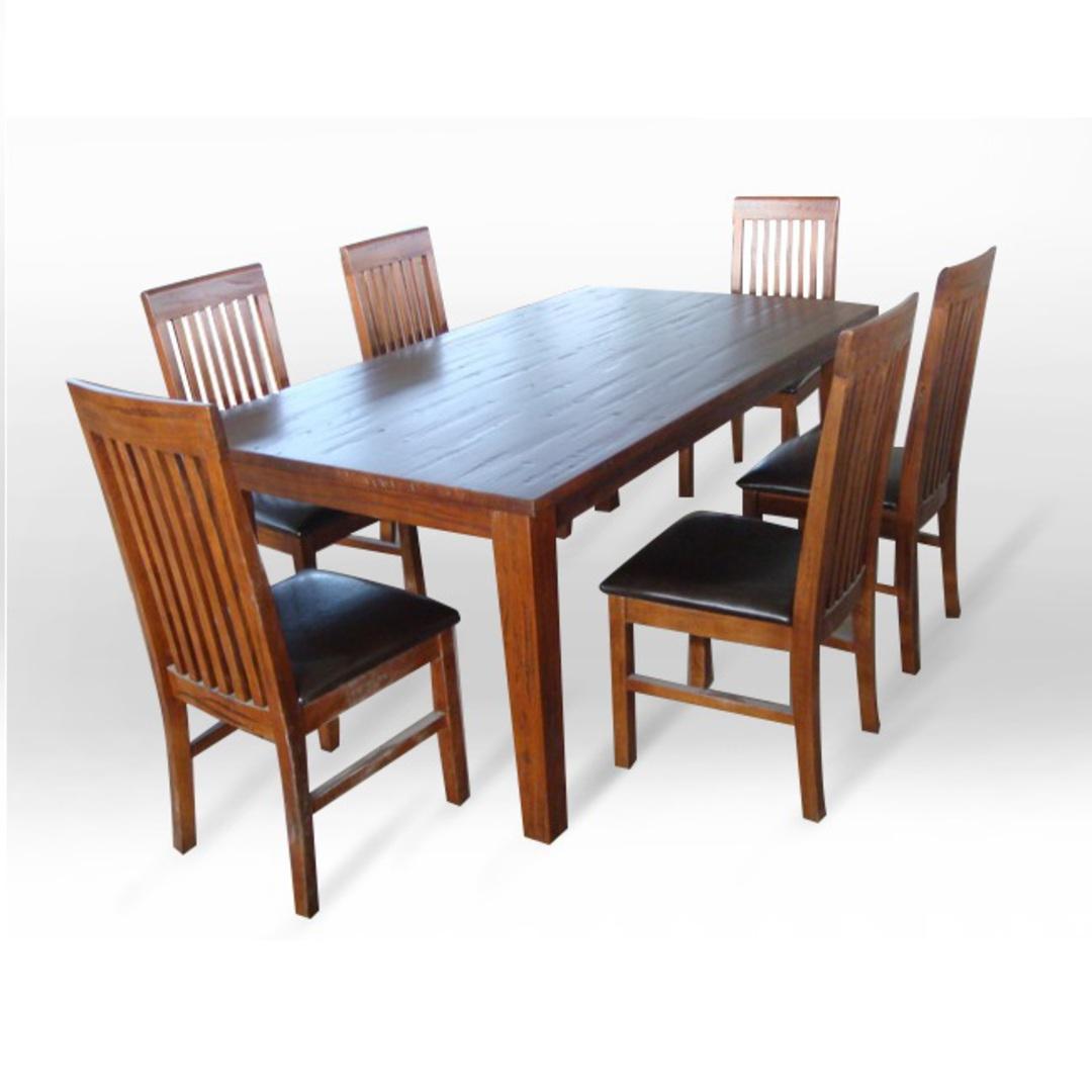 American Oak 1.8M Dining Table Dark image 1