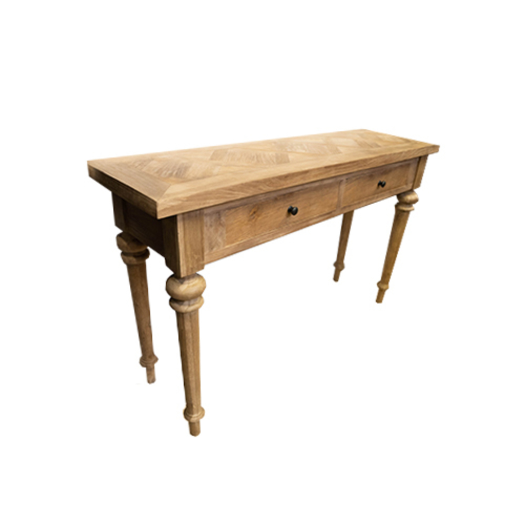 Recycled Elm Console 2 Drawer with Parquet Top image 1
