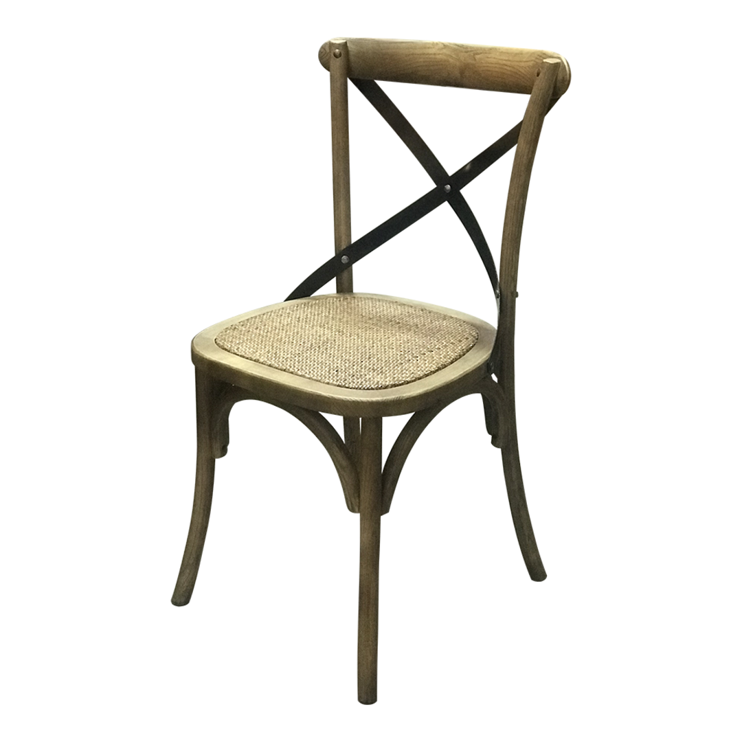 Porto Metal Cross Back Chair Rattan Seat image 1