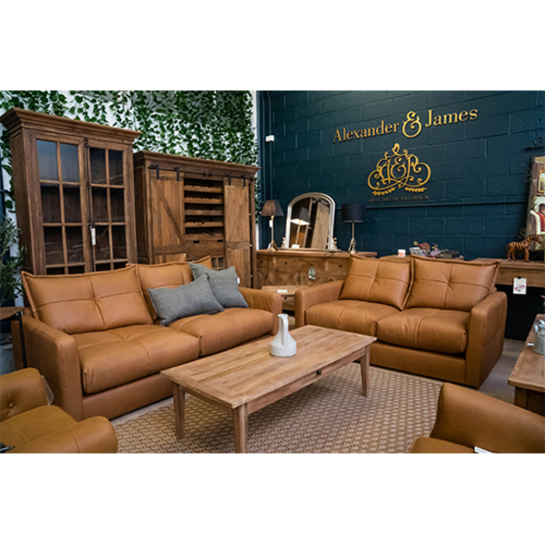 Quinn 2 Seater Sofa Leather Soul Camel image 1