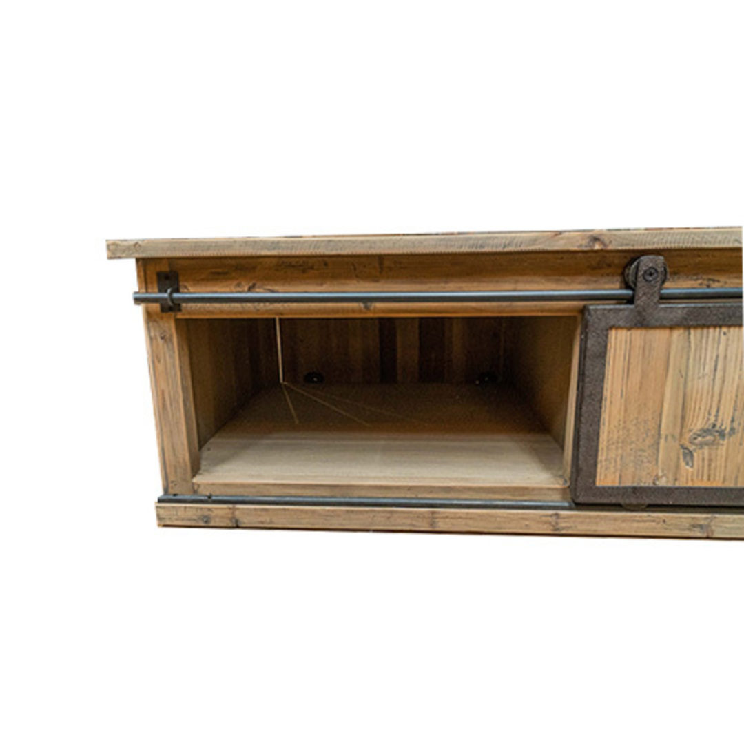 Industrial Coffee Table With Sliding Door image 2
