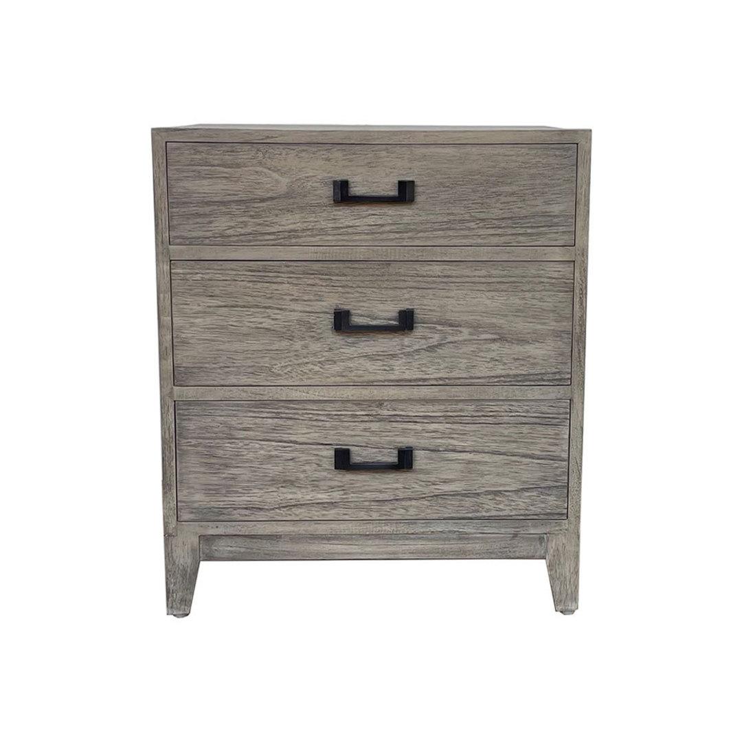 Emma Grey Washed Oak Bedside 3 Drawer image 0
