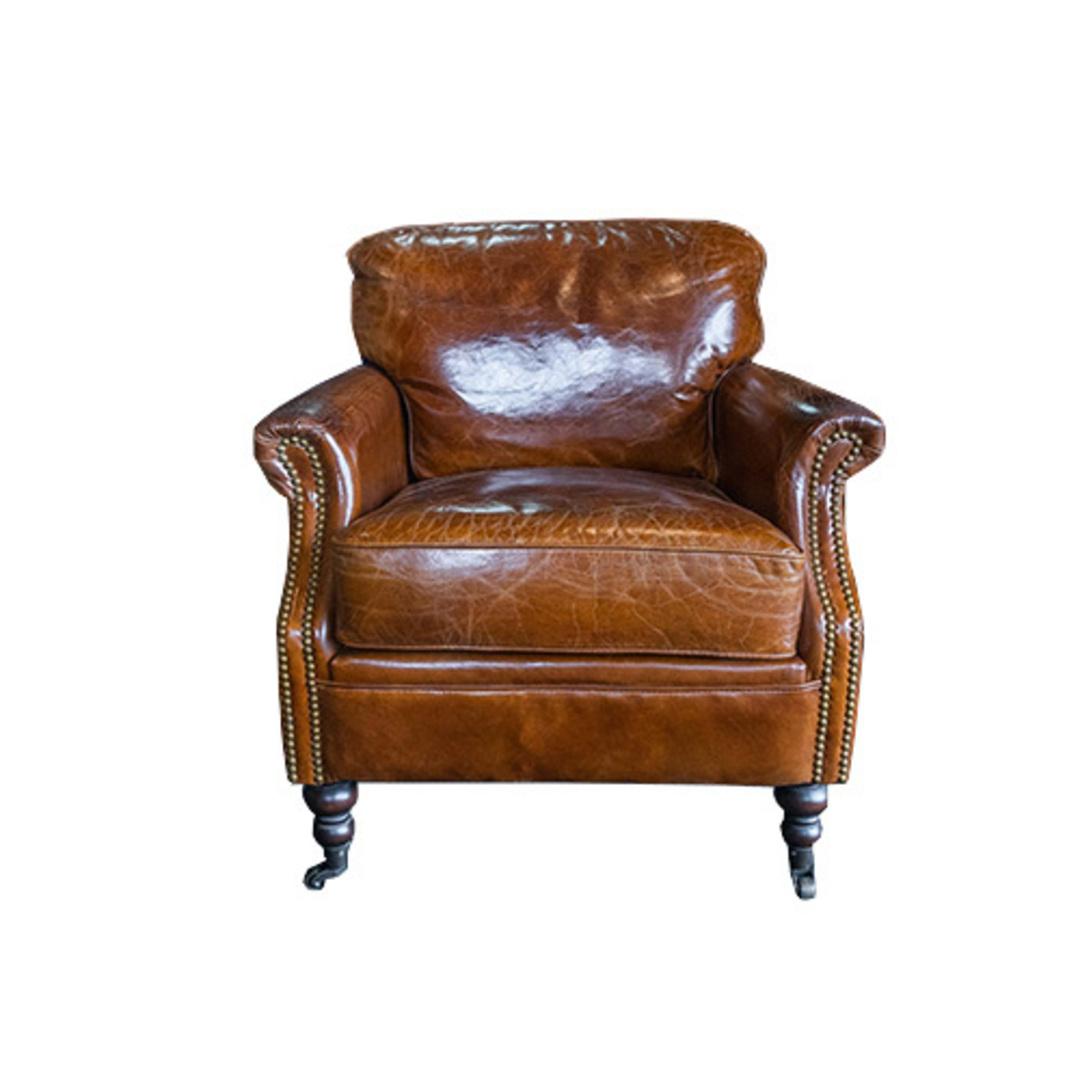 Sandringham Aged Italian Leather Armchair image 1