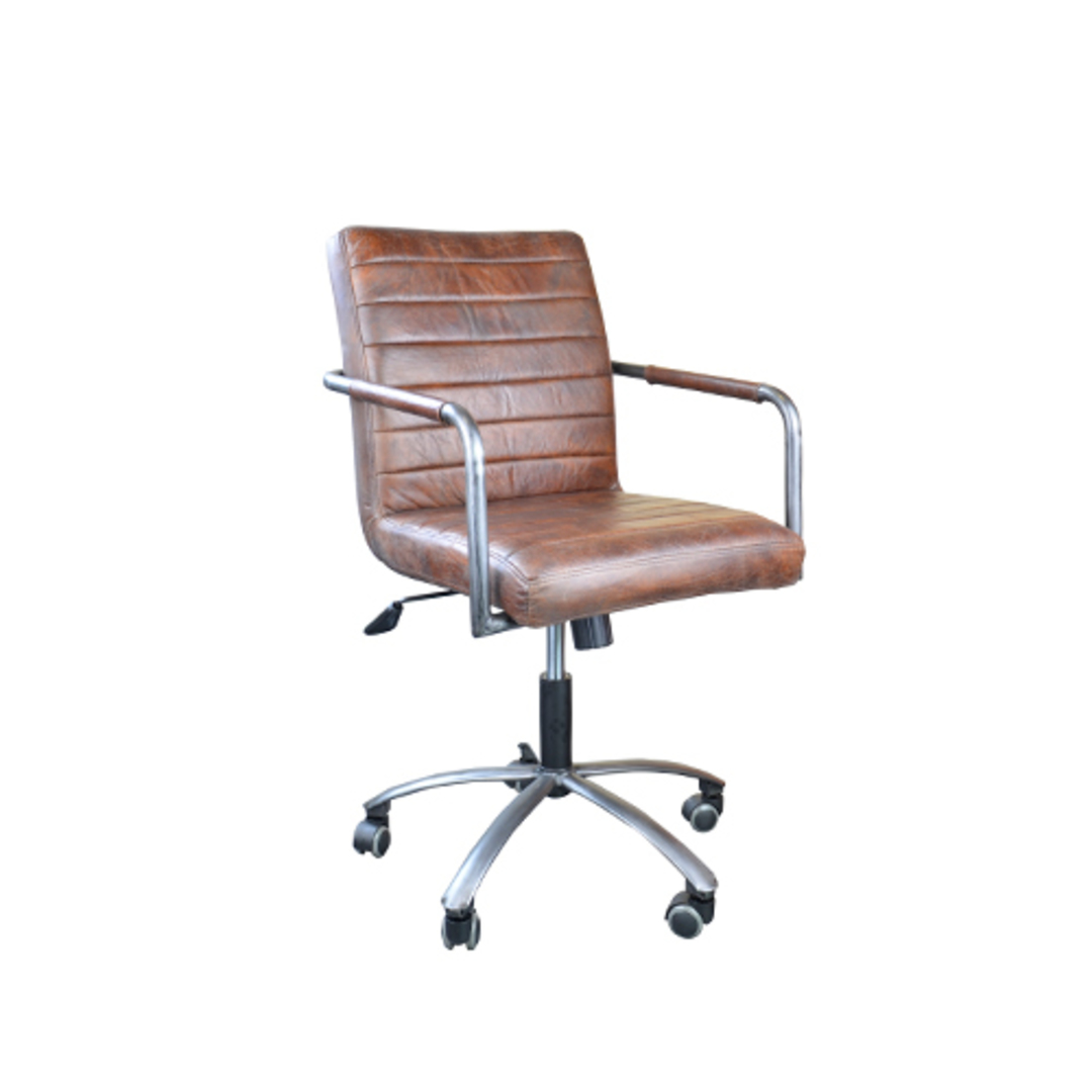 Barcelona Leather Desk Chair - Brown image 0