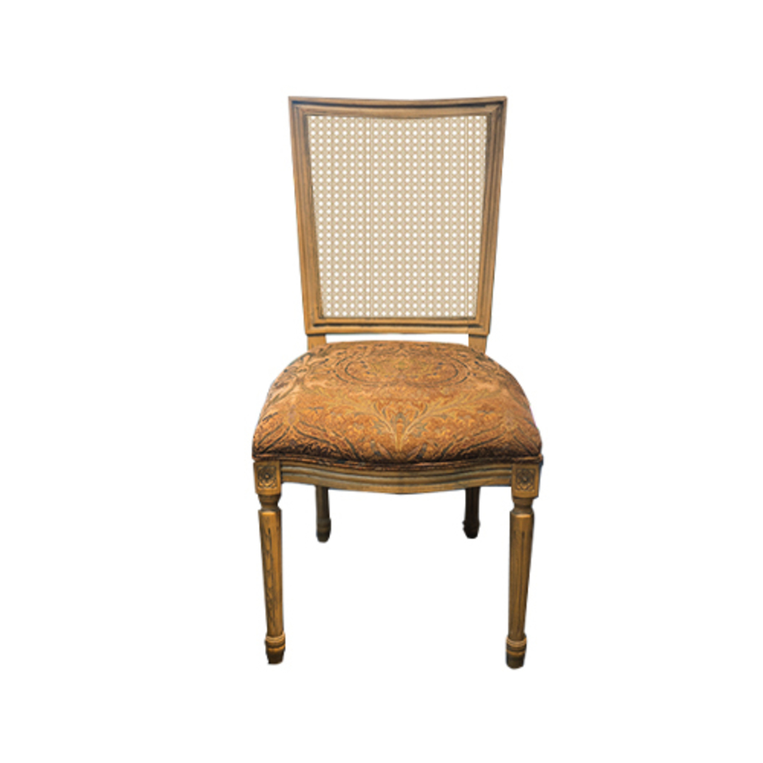 Marcel Dining Chair - Antique Oak With Jacquard Fabric & Rattan Back image 0