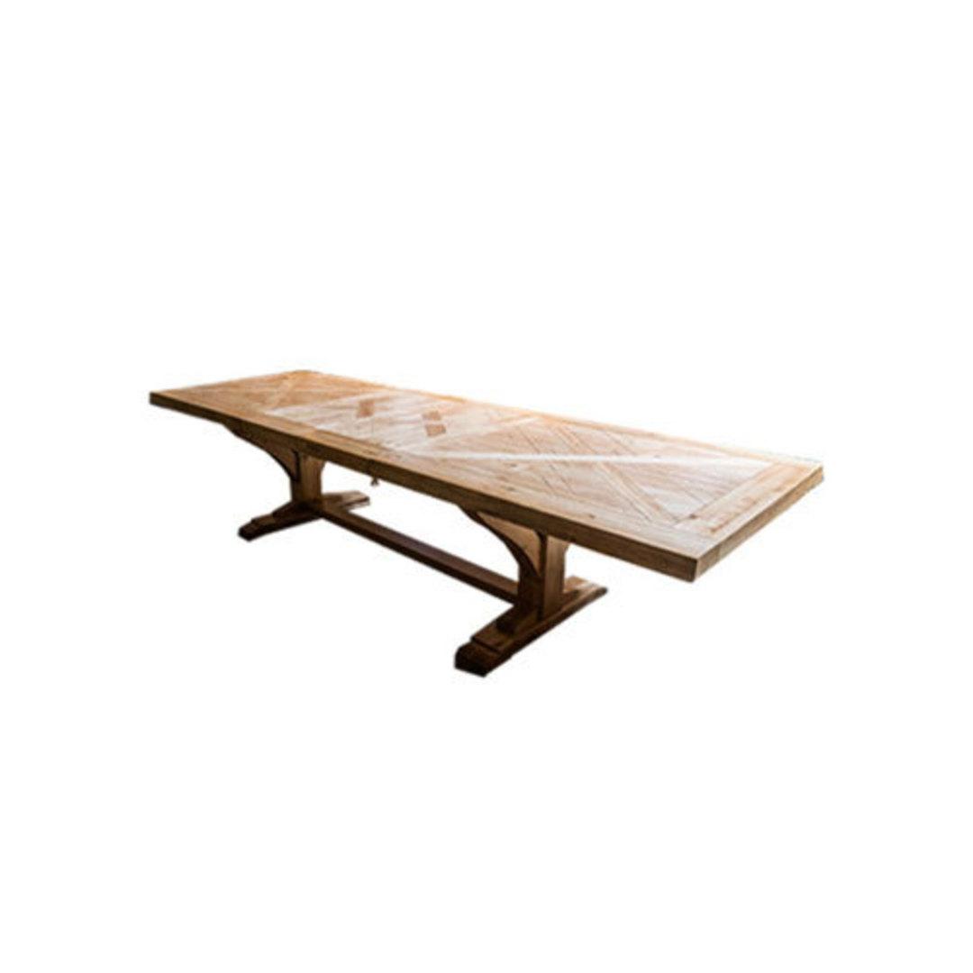 Oak Double Extension Table Parquet Top image 0