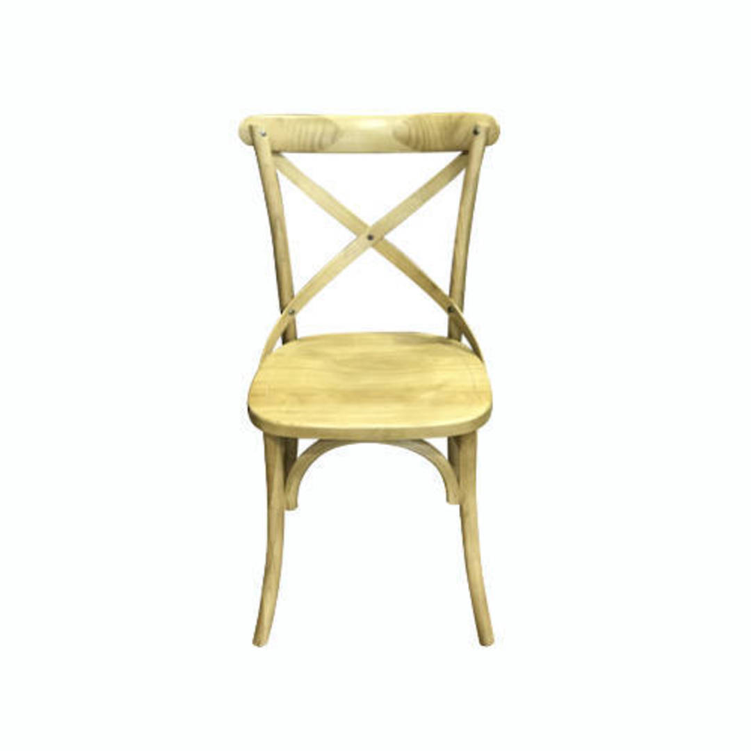 Athena Natural Elm Cross Chair with Wooden Seat image 0