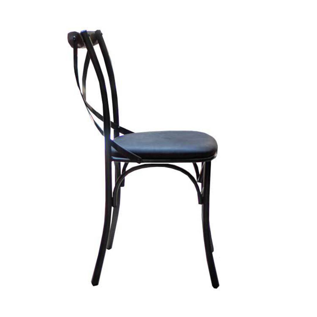 Cross Back Dining Chair With Black Leather Seat image 2