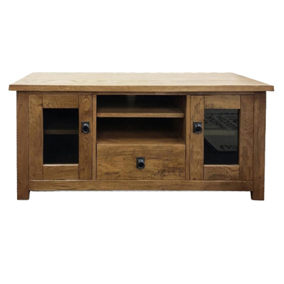 NZ Made Solid Oak TV Unit image 1