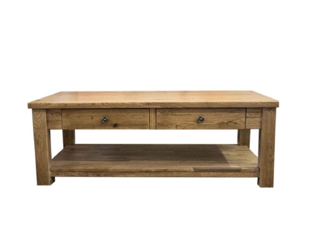 Oak Coffee Table 2 Drawer image 1